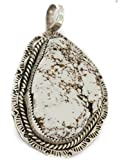 $600 Retail Tag Silver Handmade Authentic Made by Robert Little Navajo Natural White Buffalo Turquoise Native American Pendant