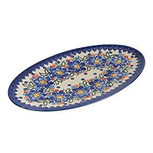 Classic Boleslawiec Pottery Hand Painted Ceramic Oval Serving Dish, Plate, Large 401 (U-097, 35.5×20.0cm)