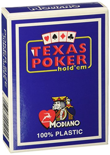 Modiano Italian Poker Game Playing Cards - Blue Box Texas Poker - Blue Deck - Jumbo 2 Index - Single Card Deck - 100% Plastic Made in Italy