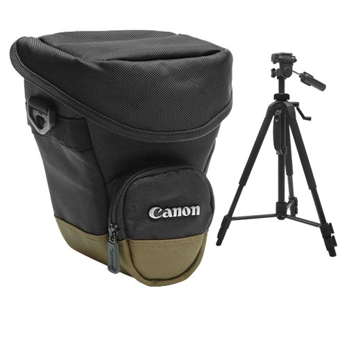 Canon Zoom Pack 1000 Holster Case + Tripod for EOS 6D, 70D, 7D, Rebel T3, T3i, T5, T5i, T6i, T6s, SL1 DSLR Cameras