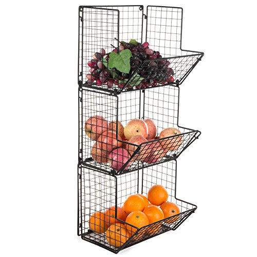 MyGift Rustic Metal Wire Wall-Mounted 3-Tier Storage Bin, Black by MyGift
