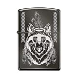 Zippo Engraved Indian Wolf With Feathers Black Ice Lighter