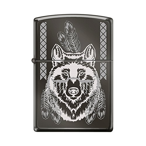 Zippo Engraved Indian Wolf With Feathers Black Ice (Feather Zippo Lighter)