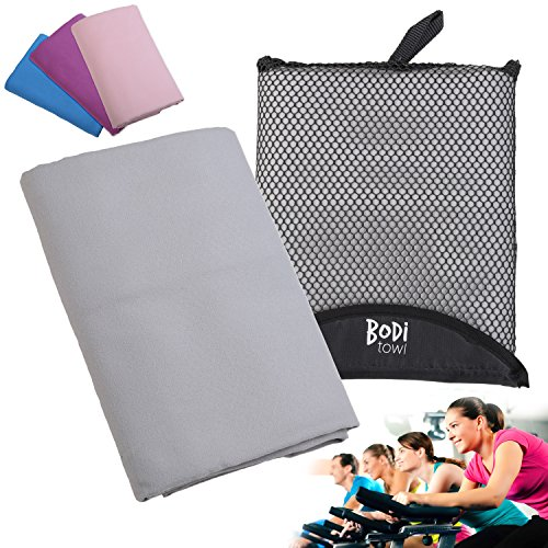 Bodi Towel Quick-Dry Lightweight Super-Absorbent Large Microfiber Towel, Grey, 130cm x 80cm