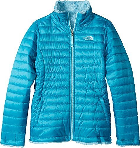 The North Face Girl's Reversible Mossbud Swirl Jacket - Bermuda Green - XL (Past Season) Breathable Fleece Reversible Jacket