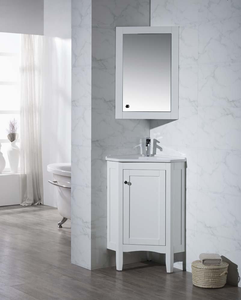. Stufurhome TY 650PW Modern Monte Corner Bathroom Vanity with