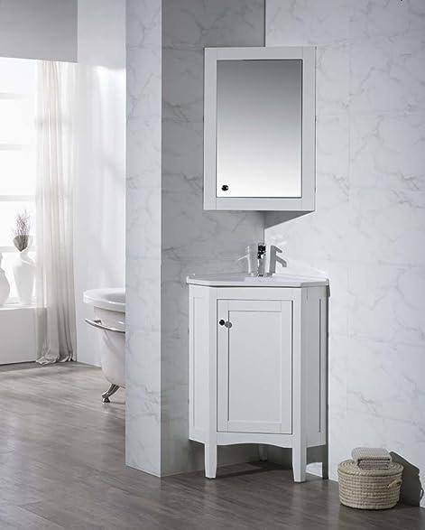 stufurhome ty650pw modern monte corner bathroom vanity with medicine cabinet white 25u0026quot