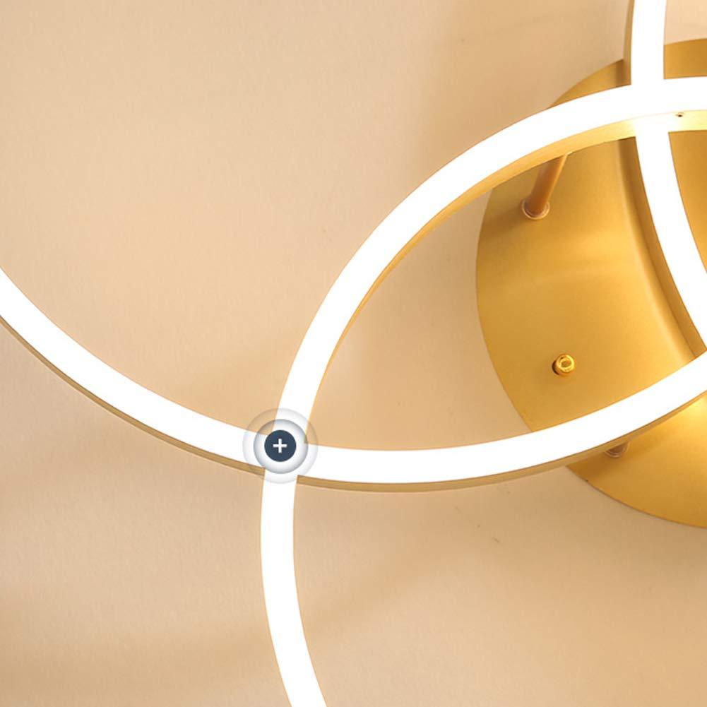 LED Deckenleuchte Wohnzimmerlampe Schlafzimmer Kinderzimmer Deckenlampe Gold Runde Ringe 3-Flammig Kronleuchter Deckenbeleuchtung Dimmbare Fernbedienung K/üche Lampe Flur Decke Leuchte,/Ø70+60+50~90w