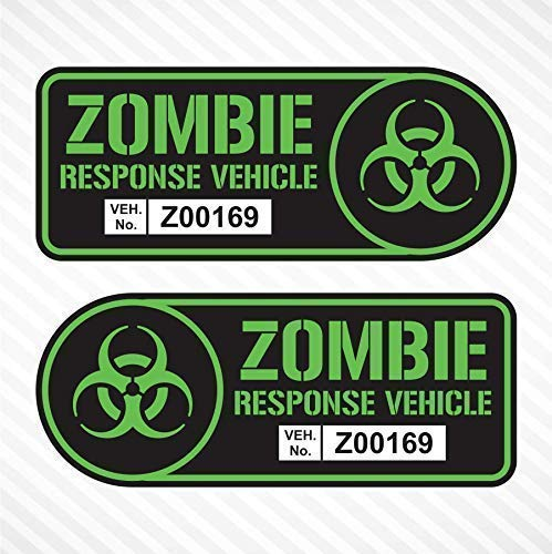 Zombie Response Vehicle Sticker Set Vinyl Decal Black & Lime Green Car Truck SUV Decal Badge Halloween
