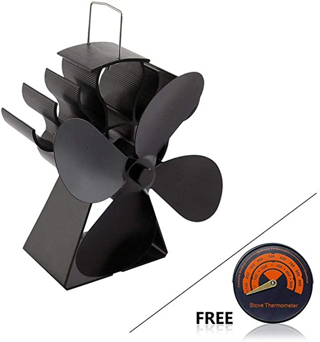 Minear Ventilador con termómetro, Ventilador con 4 Hojas, Respetuoso con el Medio Ambiente, para Horno de leña, Chimenea – Negro: Amazon.es: Hogar