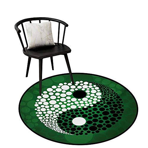 (Distressed Style Circular Rug Ying Yang Green Black White Circular Carpet Bedroom A Living Room Desk Seat Cushion Carpet 20