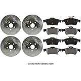 #3: Prime Choice Auto Parts BRKPKG039467 Front+Rear Kit Drilled Slotted Brake Rotors and Ceramic Pads