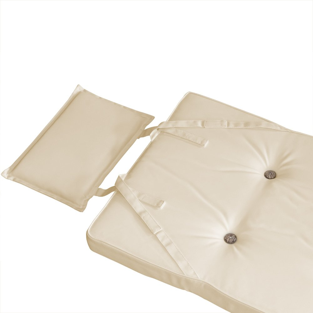Deuba 6x Garden Chair Cushions Set Vanamo 118 x 45 cm Pillow Foam Filled With Ties Luxury Seat Pads Padded Comfortable Cream
