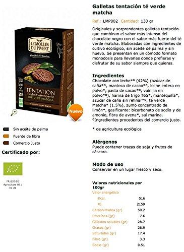 Galletas tentación té verde matcha BIO - Le Moulin du Pivert - 130g: Amazon.es: Alimentación y bebidas