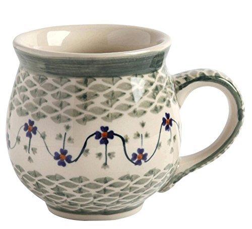 Manufaktura W Boleslawiec Polish Pottery Basketweave Floral Handmade Barrel Mug, 16 Oz