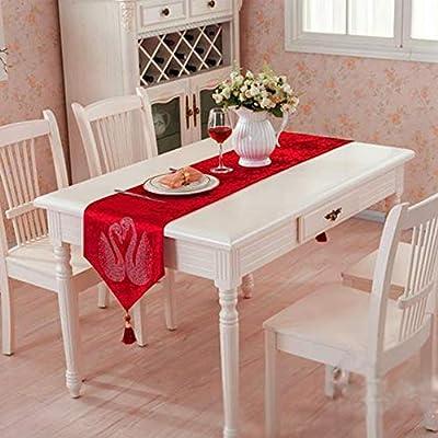 CPHGG Caminos de Mesa Tabla Corredor Europeo Mesa Tela Lujo Cama Toalla Boda Rojo Mantel 32 * 250
