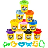 Kiddy Dough 10 Pack of Color Dough – w/ 6 BONUS Dough Cutters & Built-In Molding Lids Mega Modeling & Sculpting Playset With 10 Individual 2-Ounce Cans of Dough – Bulk Party Pack