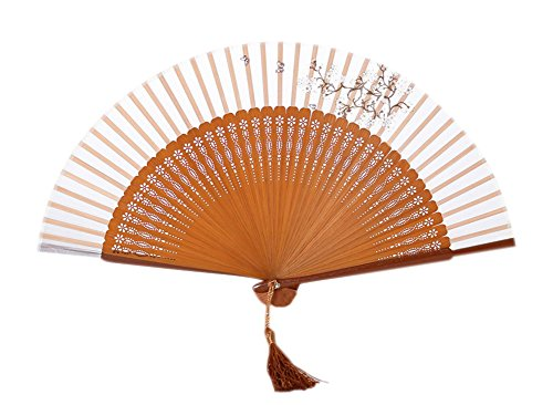 Chinese Style Process Fan Retro Folding Fan Dance Fan Home Decoration Gift 6 Inch (Yellow)