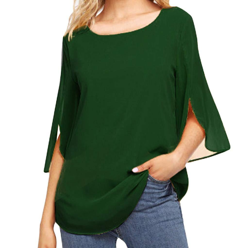 SCSAlgin 2018 Women Fashion Solid Top Three Quarter Sleeve Blouse Chiffon T-Shirt (Green, L)