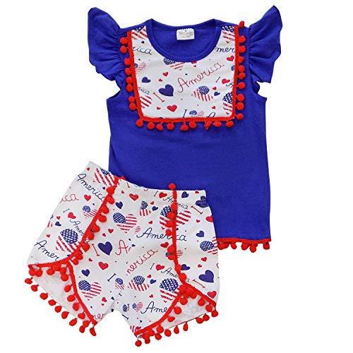 So Sydney Girls Toddler Pom Pom Novelty Summer Pool Beach Vacation Shorts Outfit (4T (M), America Love)