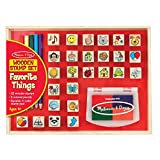 Melissa & Doug Wooden Stamp Set, Favorite Things - 26 Wooden Stamps, 4-Color Stamp Pad