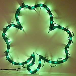Lighted Shamrock Sculpture St. Patricks Day Light Window Decor