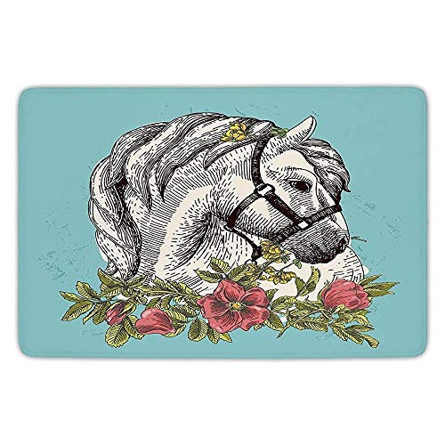 (K0k2t0 Bathroom Bath Rug Kitchen Floor Mat Carpet,Floral,Boho Style Horse Opium Blossoms Poppy Wreath Equestrian Illustration,Turquoise Apple Green,Flannel Microfiber Non-Slip Soft Absorbent)