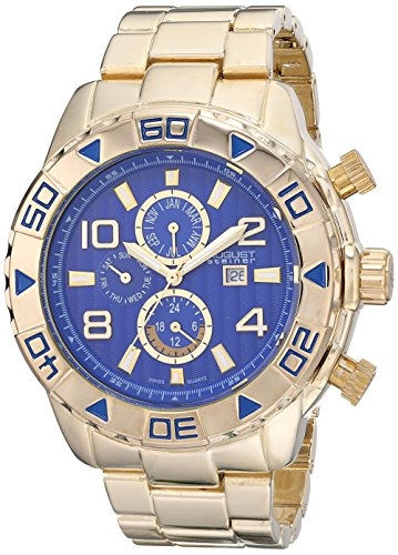 August Steiner Men's AS8130YG Yellow Gold Multifunction Swiss Quartz Watch with Blue Dial and Yellow Gold Bracelet