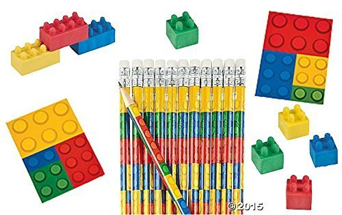 Value Pack of 36 Color Brick Blocks - Assorted Notepads, Pencils and -
