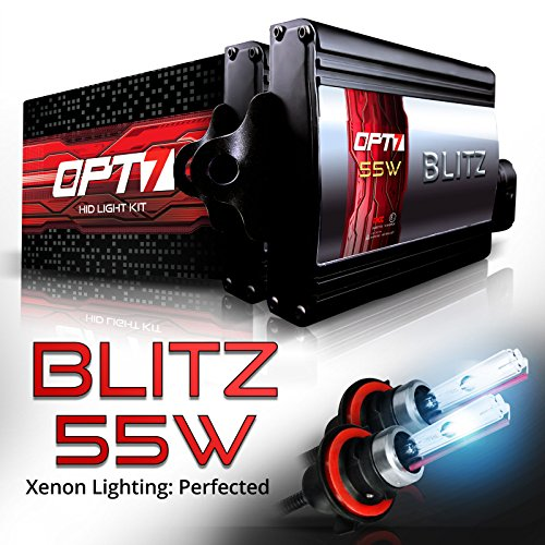 OPT7 Blitz 55W 9007 Bi-Xenon HID Kit - 5X Brighter - 4X Longer Life - All Bulb Colors and Sizes - 2 Yr Warranty [8000K Ice Blue Light]