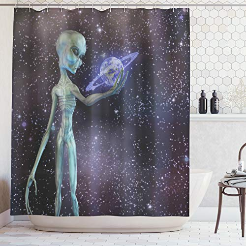 - Outer Space Decor Shower Curtain by Ambesonne, Alien Body Planet in Milky Way Star Clusters Extraterrestrial Creature Image, Fabric Bathroom Decor Set with Hooks, 70 Inches, Multi