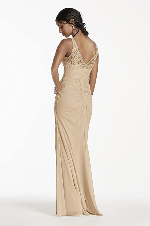 7a182865452 Sleeveless Long Metallic Bridesmaid Dress with Corded Lace Style F15749M at  Amazon Women s Clothing store