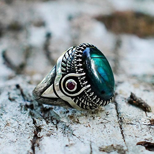 Sterling Silver Labradorite Ring with Garnet