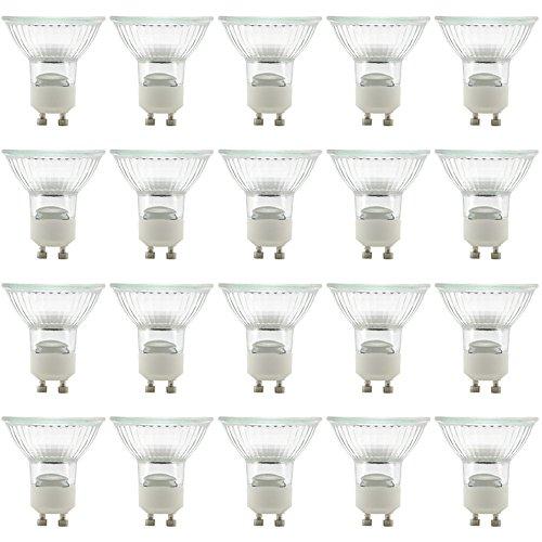 eTopLighting(20 Pack) GU10-120V-50W, MR16 Type UV Glass Cover GU10 Base Halogen Bulb Light Lamp Bulbs, 50 Watt 120 Volt, GU10-120V-50W(20)