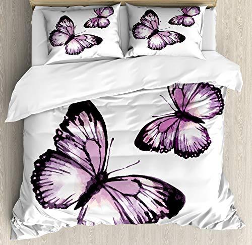 - Lunarable Purple Butterfly Duvet Cover Set Queen Size, Vintage Ikat Style Watercolor Painted Romantic Flying Monarch Butterflies, Decorative 3 Piece Bedding Set with 2 Pillow Shams, Purple Black