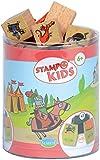 Aladine 3332 Stampominos - Lote de sellos de madera y tampón para decorar, diseño de caballeros