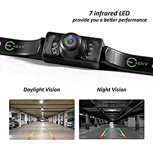 【Upgrade Version】 Backup Camera, Esky Rear View Camera Waterproof High Definition Color Wide Viewing Angle License Plate Camera with 7 Infrared Night Vision LED