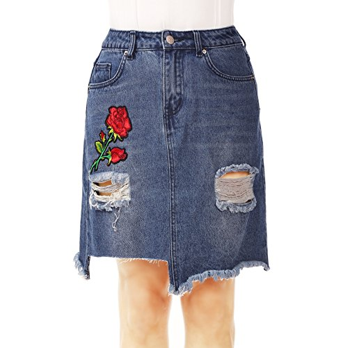 (NONOSIZE Women's High-Waist Ripped Holes Asymmetrical A-Line Denim Skirt with Roses Embroidered)