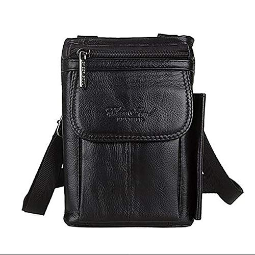 - 2019 New Fashion Genuine Real Leather Men Shoulder Bag Travel Messenger Small Bags Male Hip Belt Cell Phone Case Purse Hook Fanny Waist Pack (Black color)