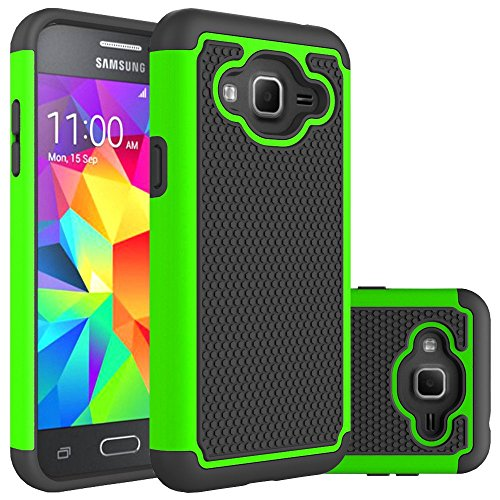 Amp Green (Galaxy J3 Case, Express Prime Case, Amp Prime Case, Sophmy [Shock Absorption] Hybrid Armor Protective Case Cover for Samsung Galaxy J3 2016 (green))