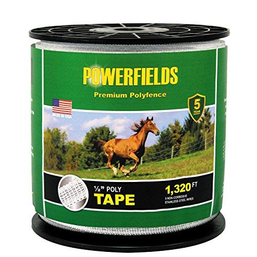 Powerfields EW5-1320 1/2-Inch Wide 5 Wire Polytape, 1320-Feet, White ()