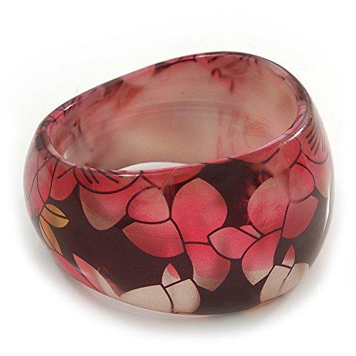Avalaya Chunky Resin Floral Bangle Bracelet in Black/Pink/Gold - 20cm Length