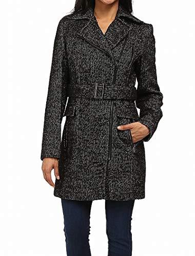 - Calvin Klein Women's Wool Belted Coat w/Asymmetrical Zipper Black/White 10