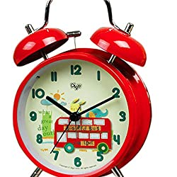 """SILENT 4"""" Children QUIET Alarm Clock for Kids - Twin Bell - Strong Metal Frame –Analog non Ticking Silent Clocks- Comfortably Loud- Battery Operated - Back Light - Child/ Boys/ Girls- Red Bus"""