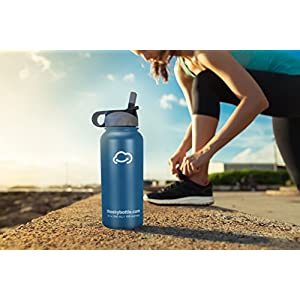 Stainless Steel Vacuum Insulated Water Bottle with Straw Lid and FREE paracord handle with metal carabiner - Keeps Hot & Cold Beverages for Hours - Thermos Double Walled - 32 oz.(1 Liter) - Gray Blue