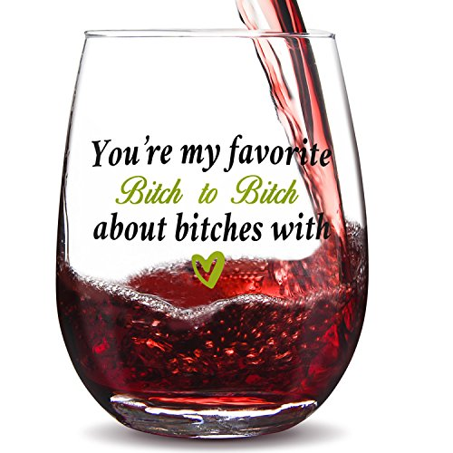 GALAROES You're My Favorite Bitch to Bitch About Bitches with-Cute 15oz Stemless Wine Glass Funny BFF Birthday Gift,Gift for Friend, Gift for her