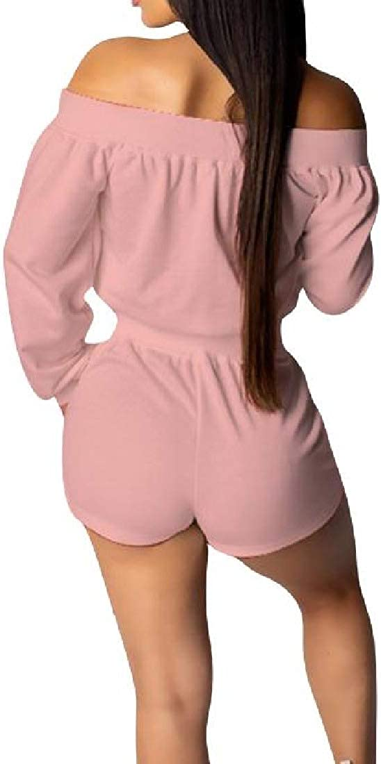 Romantc Womens Pockets Long Sleeve Lace up Pure Color Playsuit Shorts Rompers