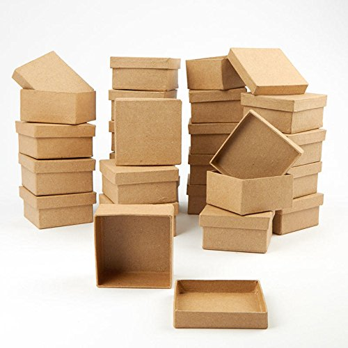 Factory Direct Craft Paper Mache Square Shaped Boxes | 24 Box Set