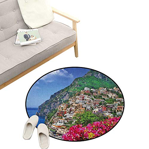Italy Modern Flannel Microfiber ,Scenic View of Positano Amalfi Naples Blooming Flowers Coastal Village Image, Round Rug Living Room Bedroom Decor 31