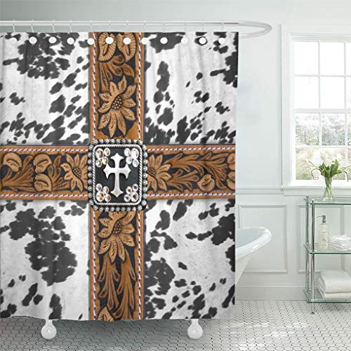 Semtomn Shower Curtain Old Cowhide Silver Cross Straps West Southwest Western Designs 72